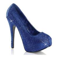 Bordello Women's Teeze 06R Royal Blue Satin/Rhinestones