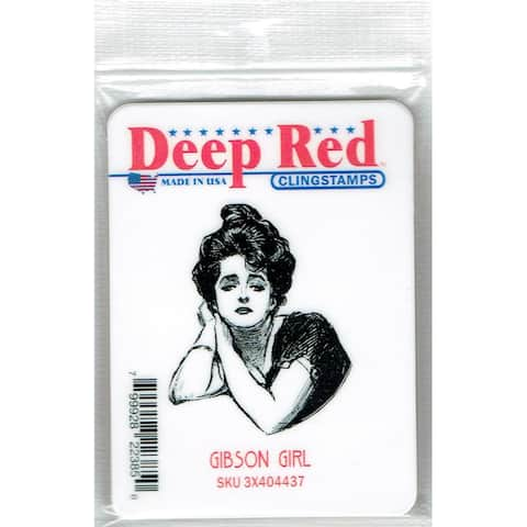 Deep Red Stamps Gibson Girl Portrait Rubber Cling Stamp - 1.75 x 2.1