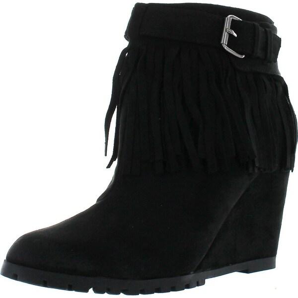 Qupid Women's Tustin-02 Fringe Tassel Buckle Wedge Bootie Boots