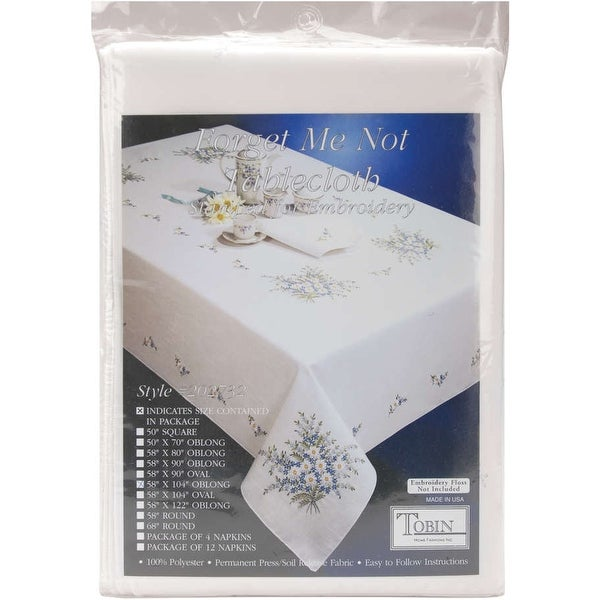 """Stamped White Tablecloth For Embroidery 58""""X104""""-Forget Me Not"""