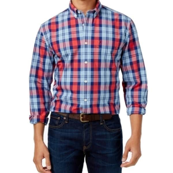 033251715b Shop Tommy Hilfiger NEW Blue Red Plaid Mens Size 3XL Button Down Cotton -  Free Shipping On Orders Over $45 - Overstock - 19751651
