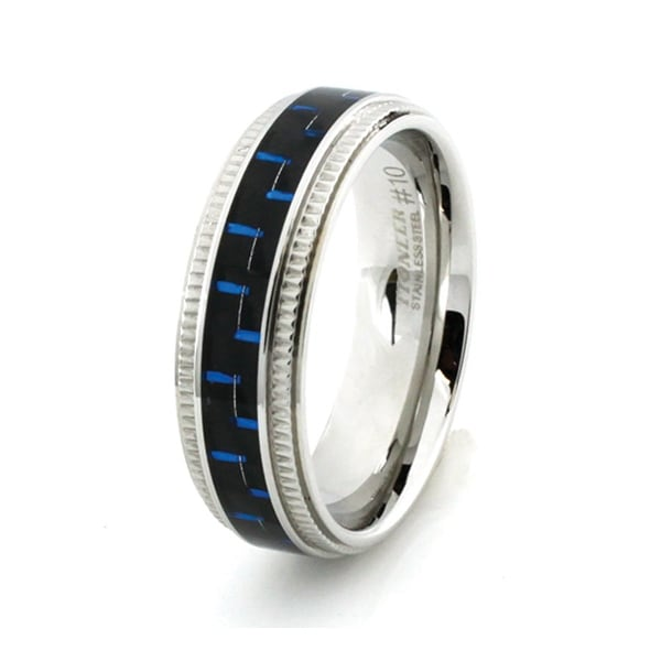 Stainless Steel Ring w/ Blue & Black Carbon Fiber Inlay