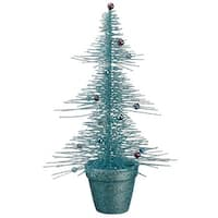 "16"" Whimsical Turquoise Glittered Spike Table Tree - BLue"