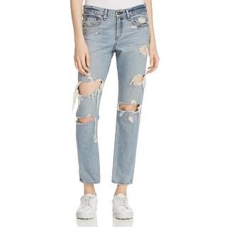 Rag & Bone Womens Beckers Boyfriend Jeans Slim Fit Destroyed