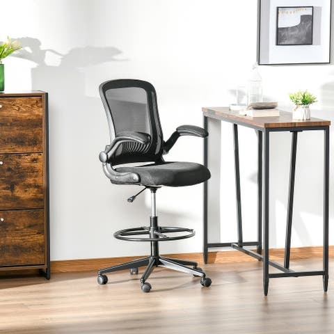 Vinsetto Tall Draft ing Desk Chair Home Office Mesh Standing Chair with Foot Ring, Flip-up Arm, 360-deg Swivel Wheels, Black