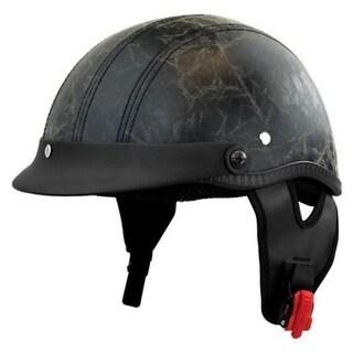 PU Worn Leather Detachable Visor Half Motorcycle Helmet with Visor