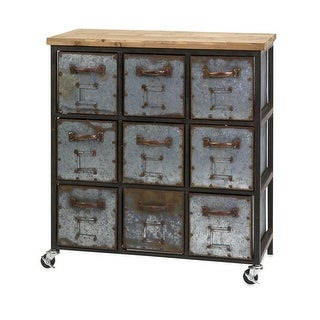 32.5H x 30W x 15.5D Martin 9-Drawer Wrought Iron Rolling Cabinet