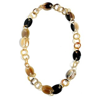 Handmade Natural Buffalo Horn Round Oval Link Long Necklace 36in For Women