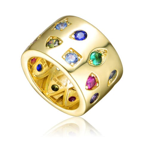 Collette Z Gold Plated Multi Colored Cubic Zirconia Wide Band Ring
