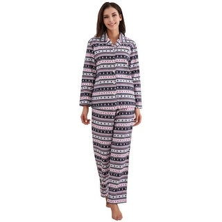 Richie House Women's Cotton Printed Flannel Two-piece Set Pajama
