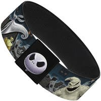 "Nightmare Before Christmas 4 Character Group Cemetery Scene Elastic Bracelet   1.0"" Wide"