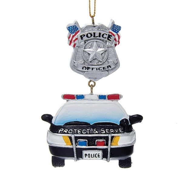 """3.75"""" Painted Police car and Officer Badge with American Flags Christmas Ornament"""