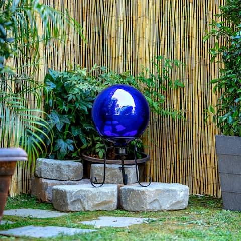 Alpine 12-Inch Glass Gazing Globe Festive Yard Décor, Blue
