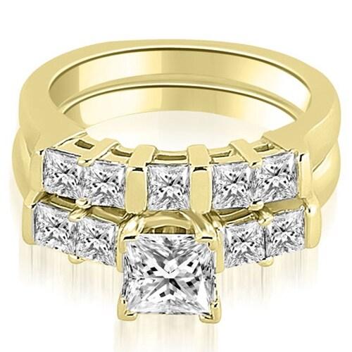 2.00 cttw. 14K Yellow Gold Princess Cut Diamond Engagement Bridal Set