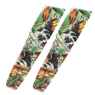 Unique Bargains 1 Pair Summer Stretchy Unisex Abstract Print UV Sun Protection Tattoo Arm Sleeves