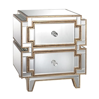 """Elk Home 173-007  Hollywood 23""""H X 14""""W X 20""""L Two Drawer Chest - Clear / Gold"""
