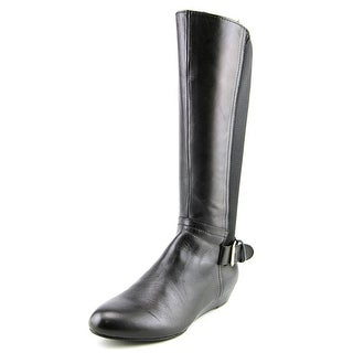 Array Peace Women W Round Toe Leather Black Knee High Boot