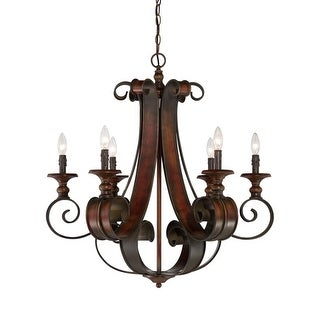 Craftmade 28026 Seville Single Tier 6 Light Candle Style Chandelier - 30 Inches Wide