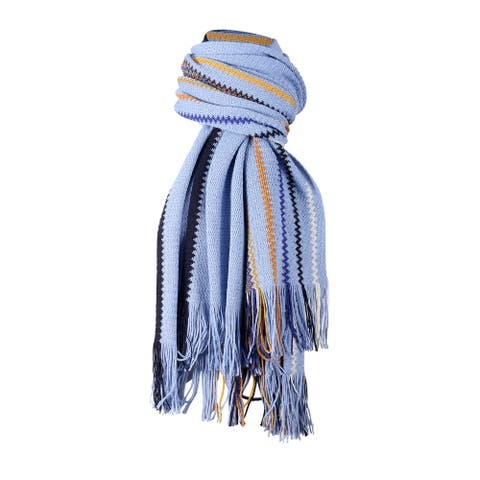 Missoni Light Blue Crochet Knit Oversized Zigzag Fringe Scarf - 20-84-
