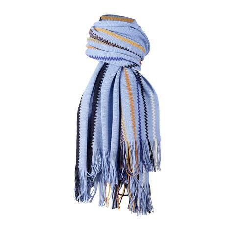 Missoni Light Blue Crochet Knit Oversized Zigzag Fringe Scarf - 20-84-