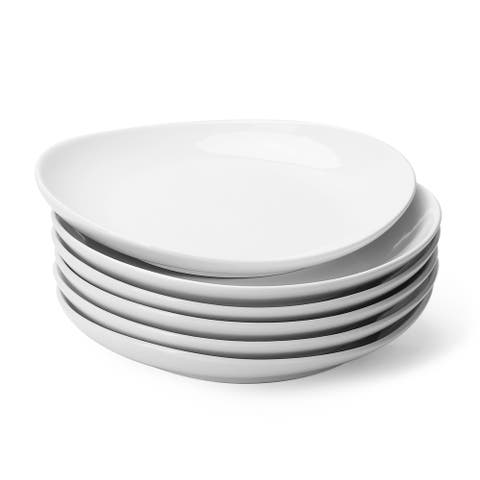 Sweese Porcelain Dessert Salad Plates - 7.8 Inch - Set of 6, White