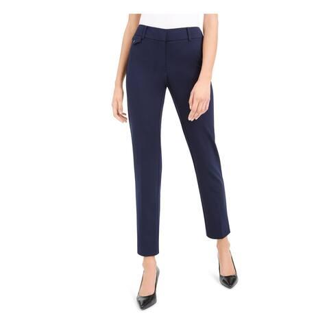 ALFANI Womens Navy Solid Straight leg Pants Size 8