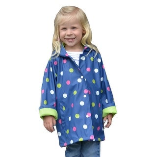 Foxfire Little Girls Navy Shiny Polka Dotted Print Trendy Raincoat 1T-6