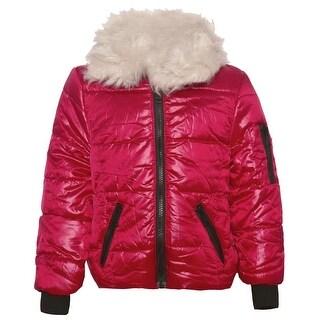 Urban Republic Girls Red Zipper Closure Slant Pockets Puffer Jacket