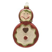 "4.5"" Merry & Bright Red, White and Green Glittered Shatterproof Gingerbread Girl Christmas Ornament - RED"
