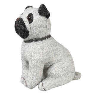 What on Earth Pug Dog Doorstop - Wool and Polyester - Weighted with Sand - 10 in.