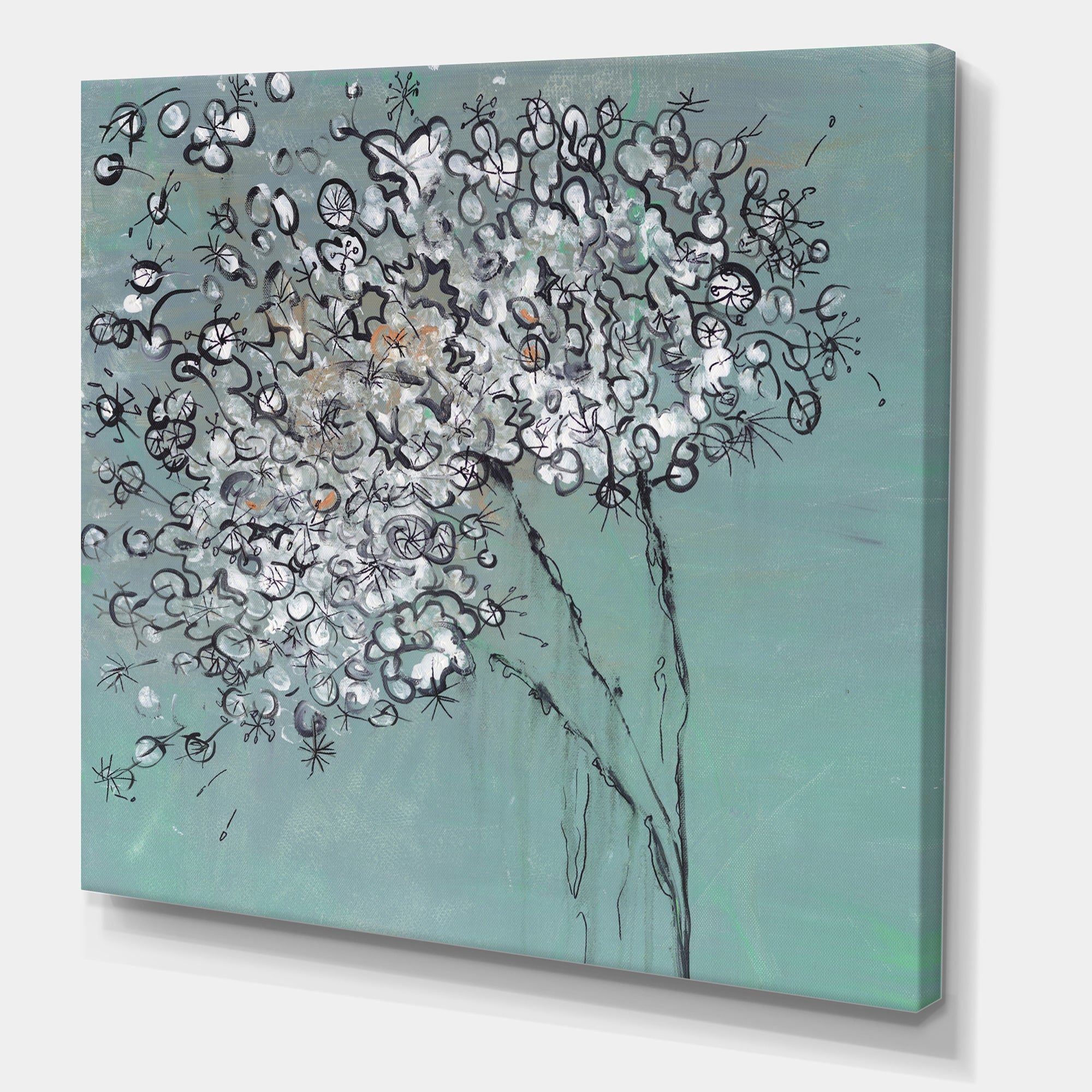 Designart Teal Blossoming Dandelion Modern Contemporary Canvas Art Print On Sale Overstock 27777014