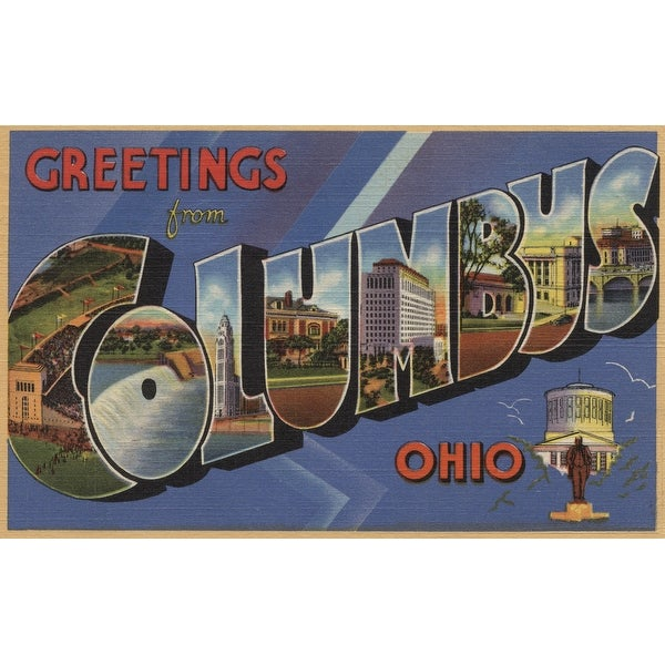 Greetings from Columbus, OH - Vintage Halftone (Poker Playing Cards Deck)