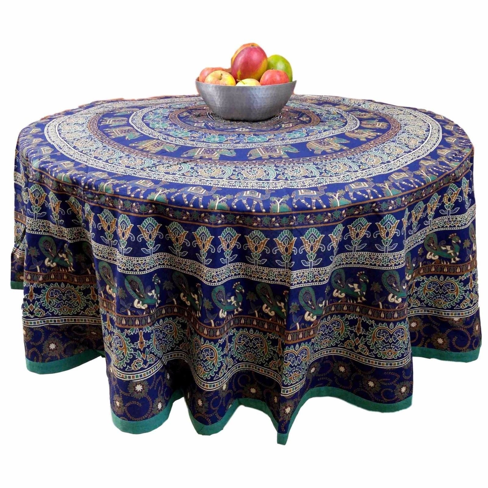 "Handmade 100% Cotton Elephant Mandala Floral 81"" Round Tablecloth Blue - Thumbnail 0"