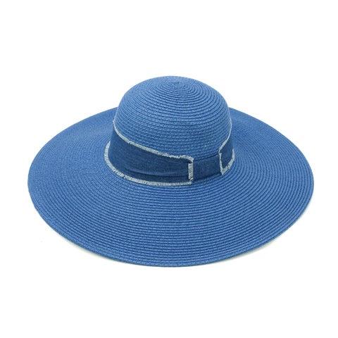 ChicHeadwear Womens Fashion Straw Hat w/ Fringed Denim Band - One size
