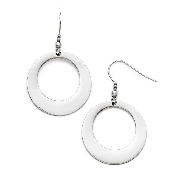 Chisel Stainless Steel Polished Circle Shepherd Hook Earrings