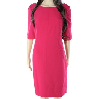 Eliza J NEW Pink Seamed Solid Women's Size 6 Pocketed Sheath Dress