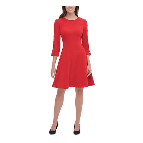 TOMMY HILFIGER Red Long Sleeve Above The Knee Dress 4P