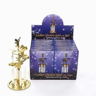 """Club Pack of 16 Gold Colored Decorative Angel Chimes with Candles 8.5"""""""