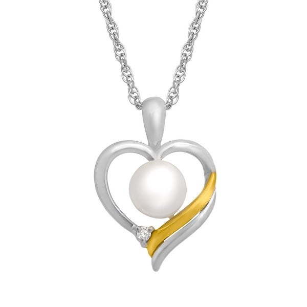 Freshwater Pearl Heart Pendant in Sterling Sliver and 14K Gold