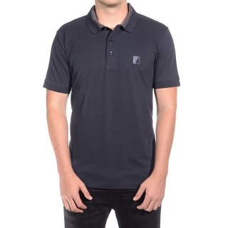 Versace Men Medusa Logo Solid Cotton Colar Trim Polo Shirt Black
