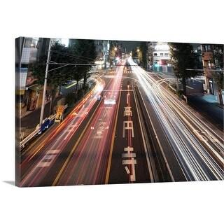 """Traffic trails at night, Tokyo."" Canvas Wall Art"