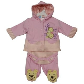 Disney Baby Girls Pink Winnie The Pooh Hooded Top Bodysuit 3 Pc Pant Set 3-9M