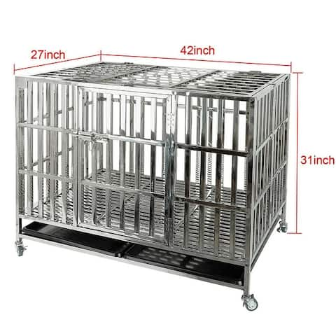 """confote 37""""/42""""/48"""" Stainless Steel Dog Cage Crate Kennel"""