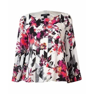 Alfani Women's Striped Bell-Sleeves Crepe Bubble Top - prismatic floral