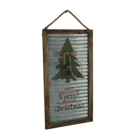 Wood Framed Metal Rustic Merry Little Christmas Tree Seasonal Decor Wall Hanging