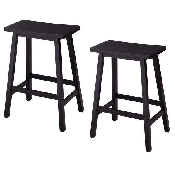 Shop Costway Set Of 2 Saddle Seat 24 Bar Stools Wood Bistro Dining