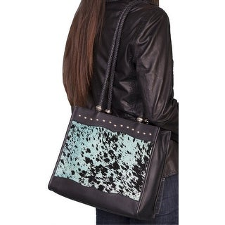 Scully Western Handbag Womens Leather Hair On Calf Magnetic Teal B102 - Blue Black - One size
