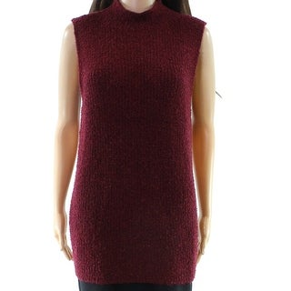 Cupio NEW Red Women's Size Large L Mock Neck Sleeveless Sweater
