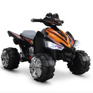 Kidzone 12v Battery Powered Ride On Atv Quad Electric Led Headlights Toy Car For Kids