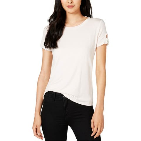 Maison Jules Womens Knit Strp Bows Embellished T-Shirt